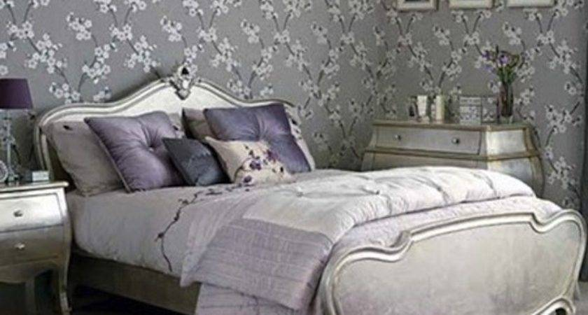 Purple Lavender Bed Room Silver Leaf Gray Linens Home
