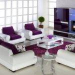 Purple Living Room Cushions White Modern