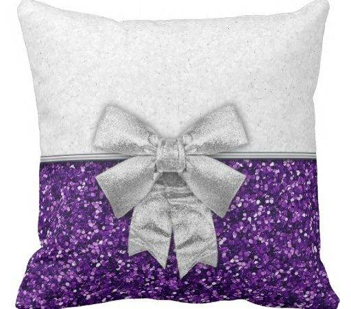 Purple Silver Festive Glittery Christmas Throw Pillow Zazzle