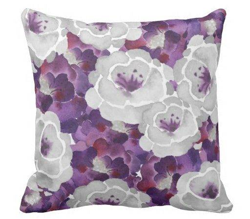 Purple Silver Gray Floral Square Accent Pillow