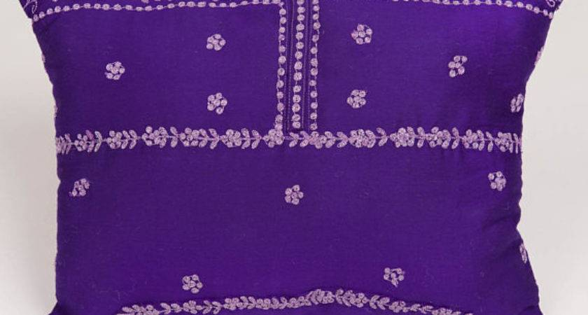 Purple Silver Indian Pillow
