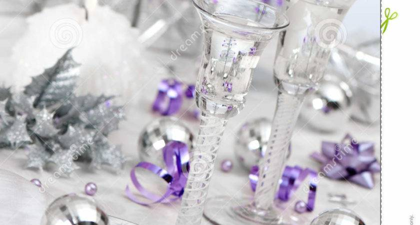 Purple Silver Themed Table Setting