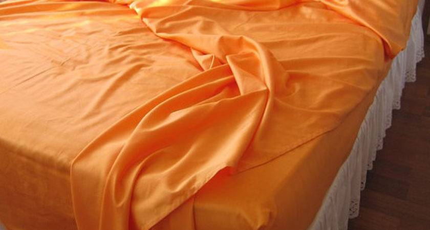 Queen Orange Gold Bed Sheet Sets Any Color Pillow