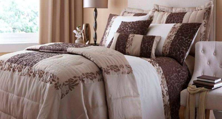 Quilted Damask Gold Chocolate Cream Floral Luxury Duvet
