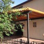 Rafters Wood Steel Pergola Side Ornamental Elegance