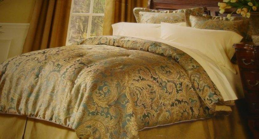 Raymond Waites Queen Comforter Set Teal Gold