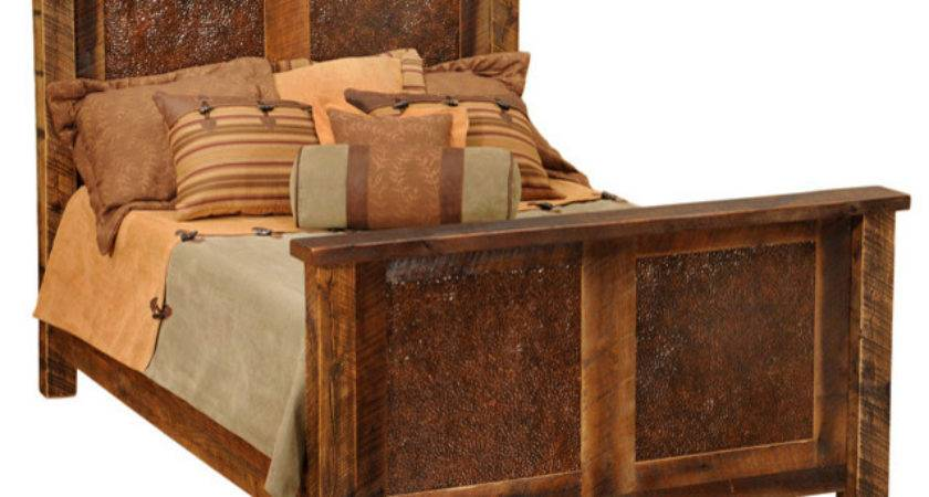 Reclaimed Barn Wood Bed Faux Copper Inset California