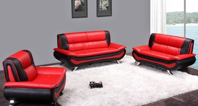 Red Black Leather Sofa Hereo