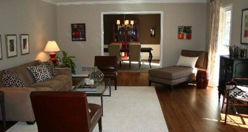Red Brown Living Room Transitional