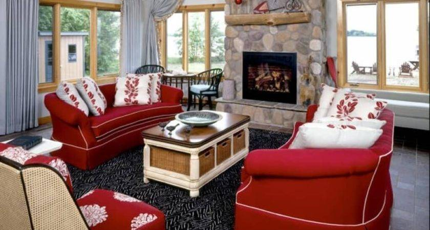 Red Cream Living Room Ideas Decorating