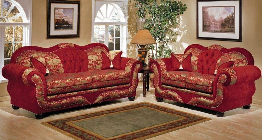Red Fabric Living Room Sets Leather
