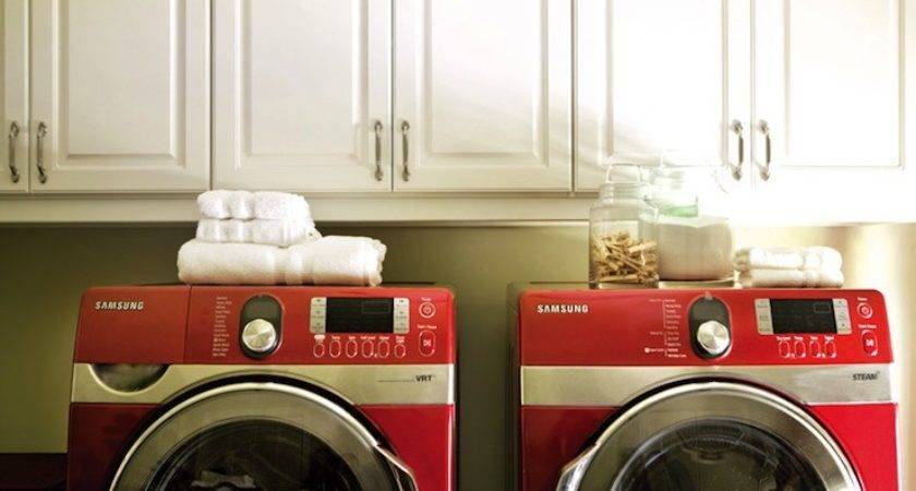 Red Front Load Washer Dryer Contemporary Laundry