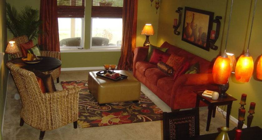 Red Gold Brown Living Room Modern House