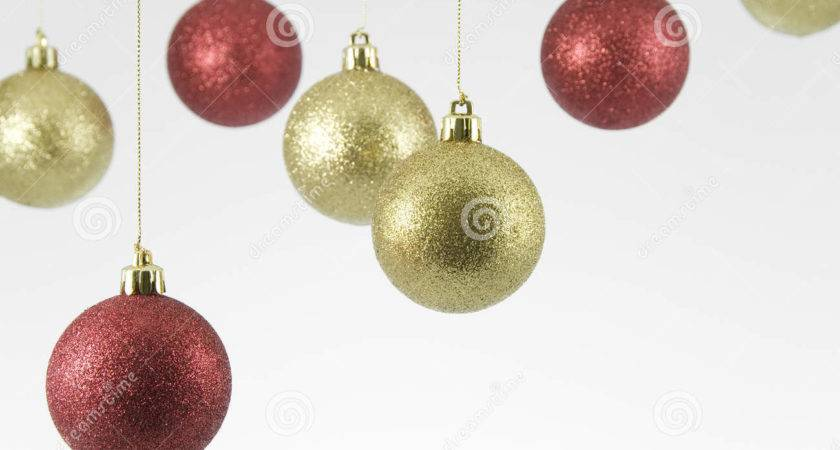 Red Gold Hanging Christmas Decorations White