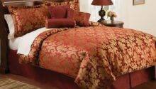 Red Gold Jacquard Queen Comforter Bedding Bed Set