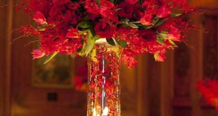 Red Gold Wedding Reception Table Decorations Car