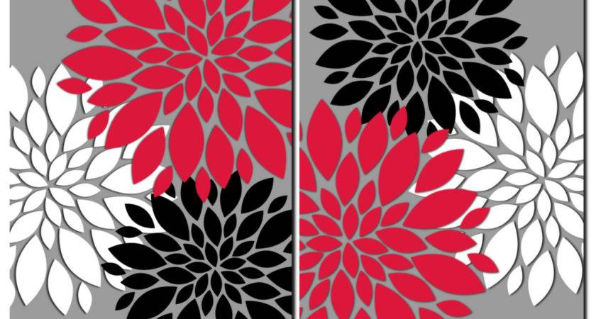 Red Gray Black White Wall Art Prints Canvas Bathroom Decor