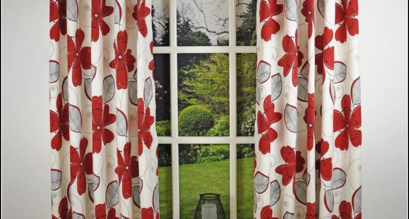 Red Grey Eyelet Curtains Home Design
