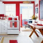 Red Kitchen Walls White Cabinets Facemasre