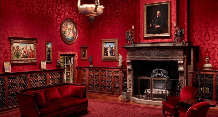 Red Living Room Decor Antique Fireplace Victorian