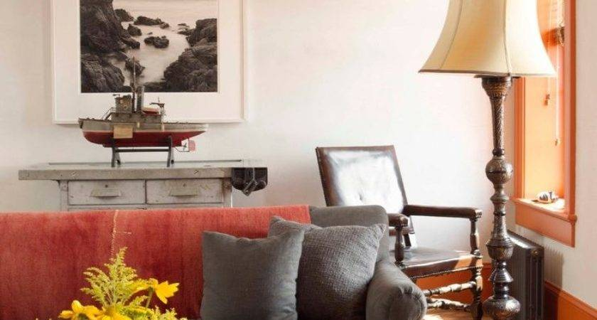 Red Orange Living Room Eclectic Throw