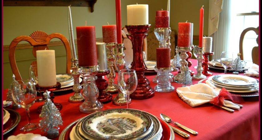 Red Silver Table Setting Ideas Christmas