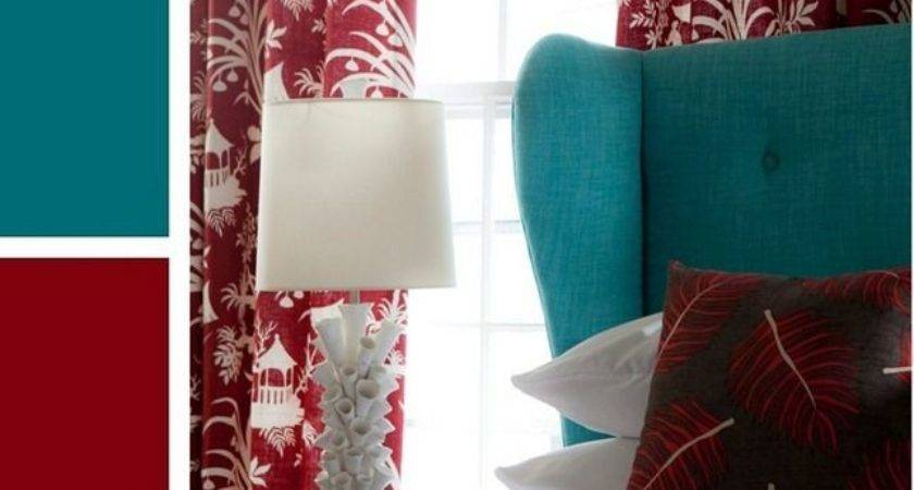 Red Teal Accent Bedroom Color Scheme White