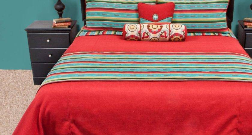 Red Turquoise Bedding