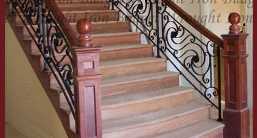 Residential Wrought Iron Stair Railing Balustrade Grill
