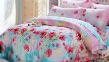 Romantic Pink Floral Pretty Cotton Bed Comforter Sets