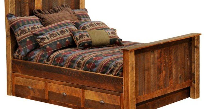 Rustic Barnwood Traditional Bed Underbed Drawer