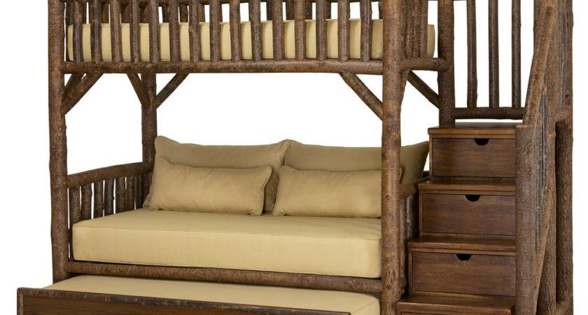 Rustic Bunk Bed Trundle Stairs Lune Collection
