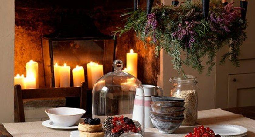 Rustic Christmas Dining Room Fireplace Candles