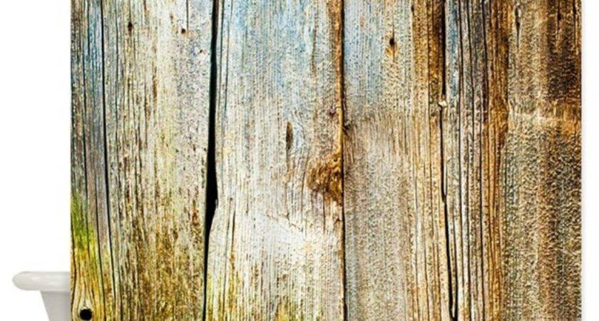 Rustic Distressed Barn Wood Faux Shower Curtain Buyagift