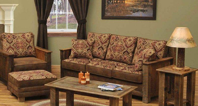 Rustic Living Room Furniture Sets Brown Red Sofa