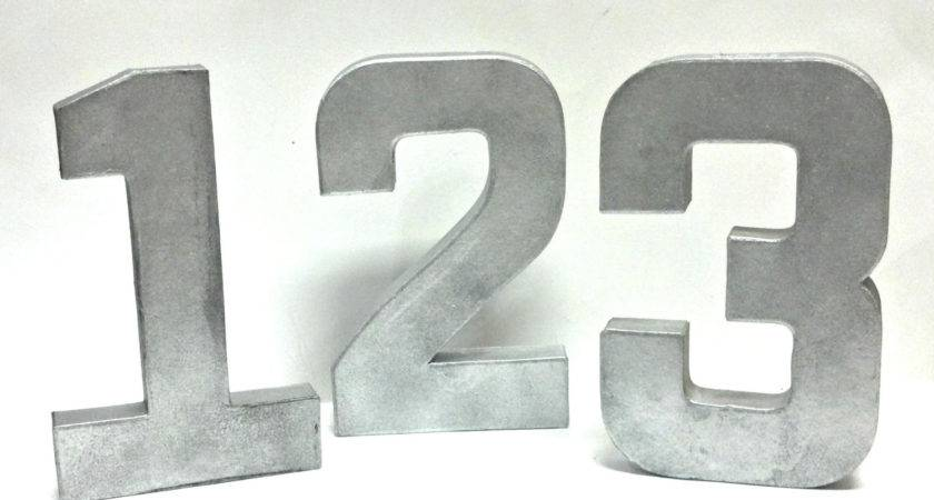 Rustic Metal Table Numbers Faux Galvanized Set