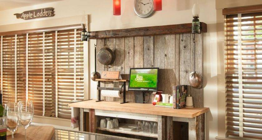 Rustic Reclaimed Wood Coffee Bar Farmhouse Kitchen
