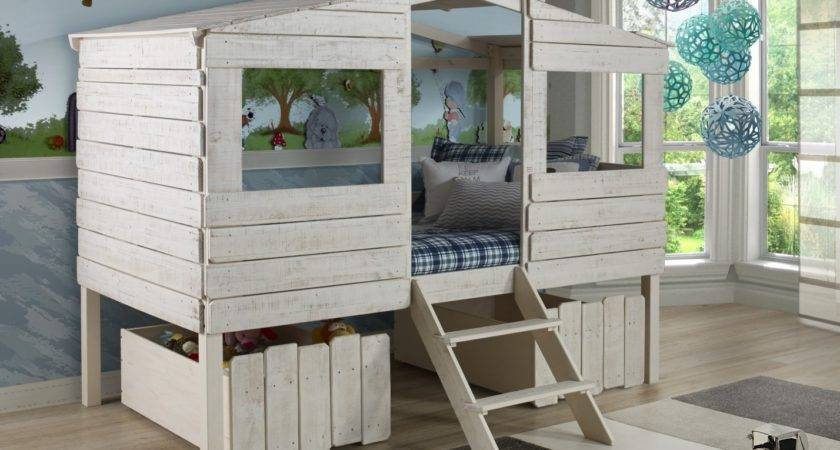 Rustic Tree House Loft Bed Twin Low Kids
