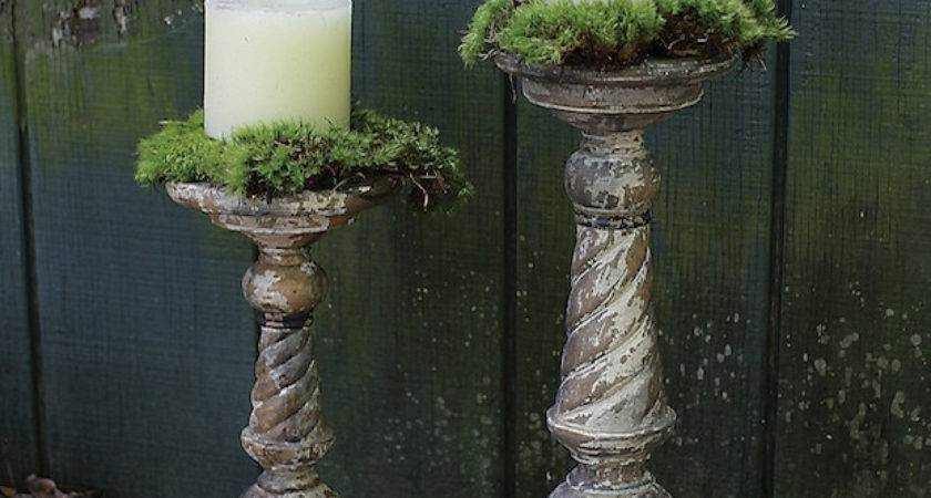 Rustic Turned Wood Pillar Candle Holders Antique Farmhouse