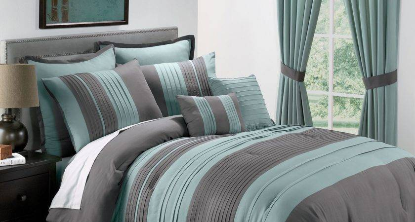 Sale King Blue Gray Pintucked Comforter Set Ebay