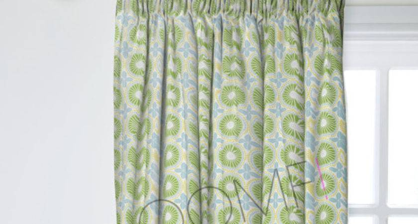 Scandinavian Curtains Green Geometric