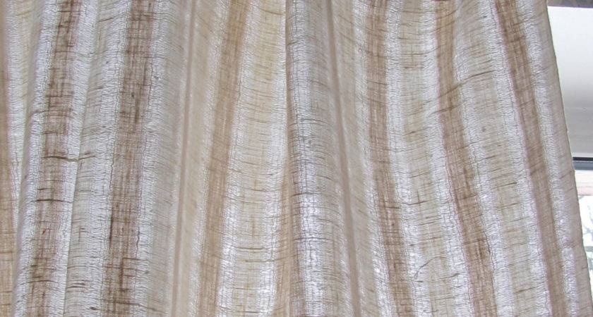 Scandinavian Vintage Curtain Panel Woven Striped Linen