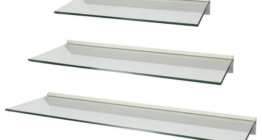Set Clear Floating Glass Wall Shelves Storage Display