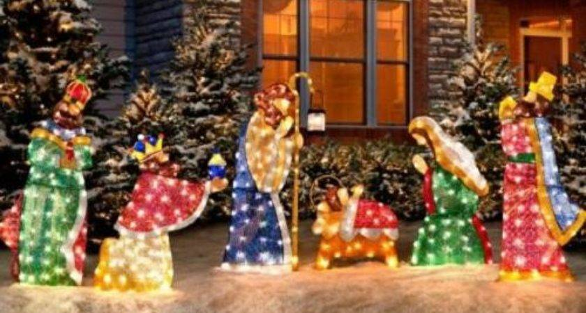 Set Outdoor Lighted Holy Wisemen Nativity