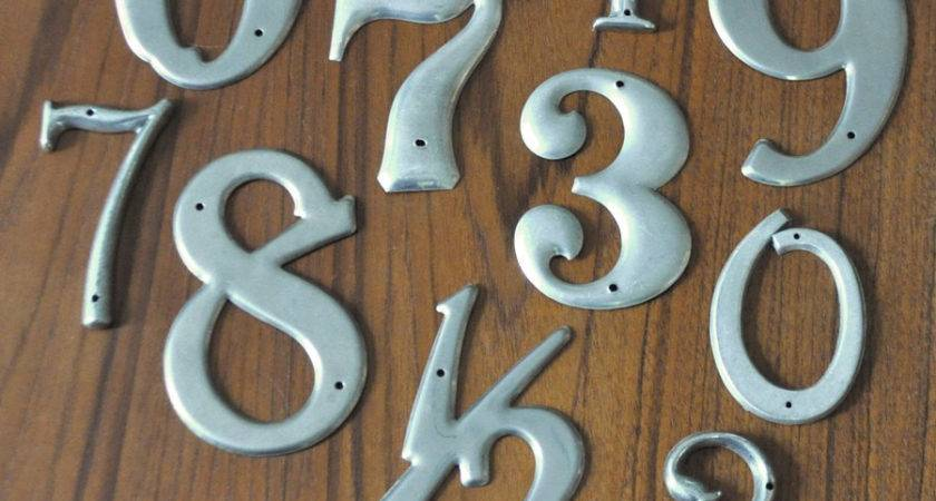 Set Vintage Metal House Numbers