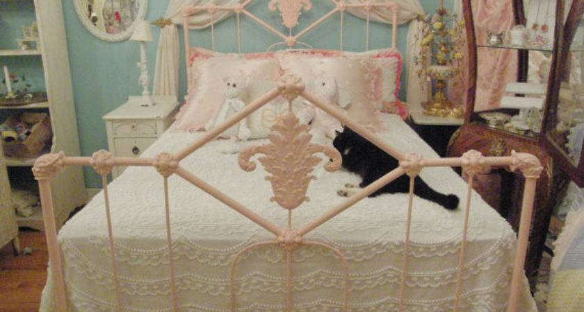 Shabby Chic Antique Bed Frame Pink Wrought Iron Double