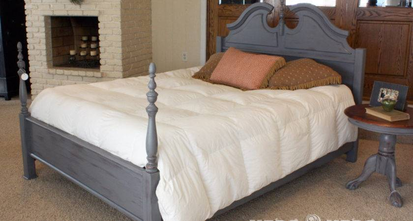 Shabby Chic Charcoal Queen Bed Frame Herd Etsy