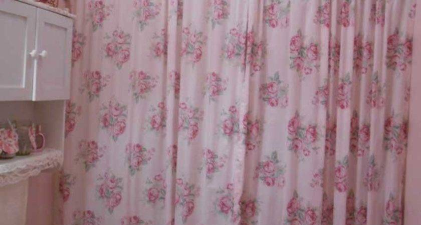 Shabby Chic Shower Curtain Beautiful Pink Roses