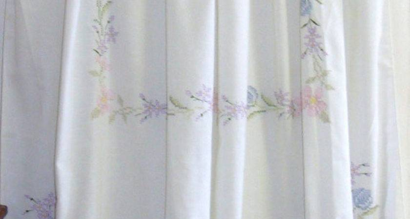 Shabby Chic Shower Curtain Vintage Embroidery