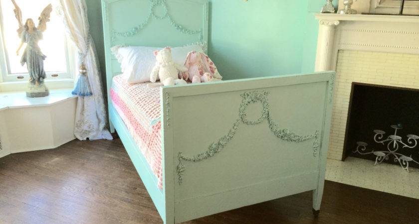 Shabby Chic Twin Bed Frame Aqua Blue Distressed Antique
